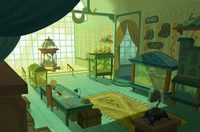 Uncle Monty's Reptile room 🐍  #art #illustration #background #visualdevelopment #artistsoninstagram #conceptart #digitalart #painting