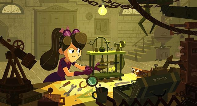 Violet In her workshop creating contraptions and stuff  #art #background #illustration #visualdevelopment #conceptart #artistsoninstagram #backgrounddesign #painting
