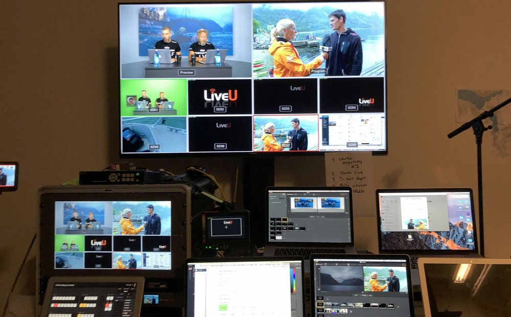 The setup in the field consisted of seven different sources. Two cameras riding on motorbikes, one mounted on a car, one drone, one with our reporter and two mobile phones used as stationary cameras. All the signals transmitted back to this control room in Stockholm using LiveU technology.
