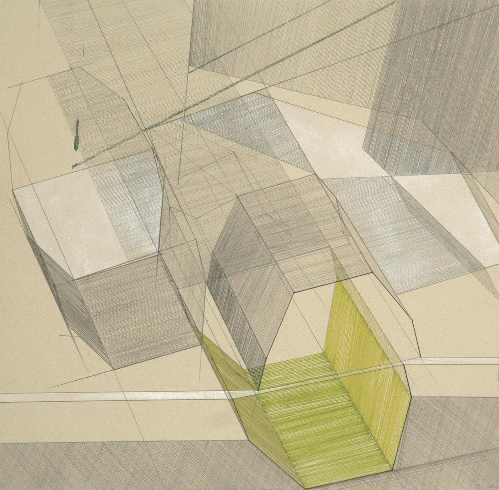 'Revelstoke Dam IV' pen, pencil, gouache over lithograph