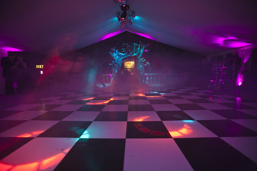 Ultra violet lighting on dance floor