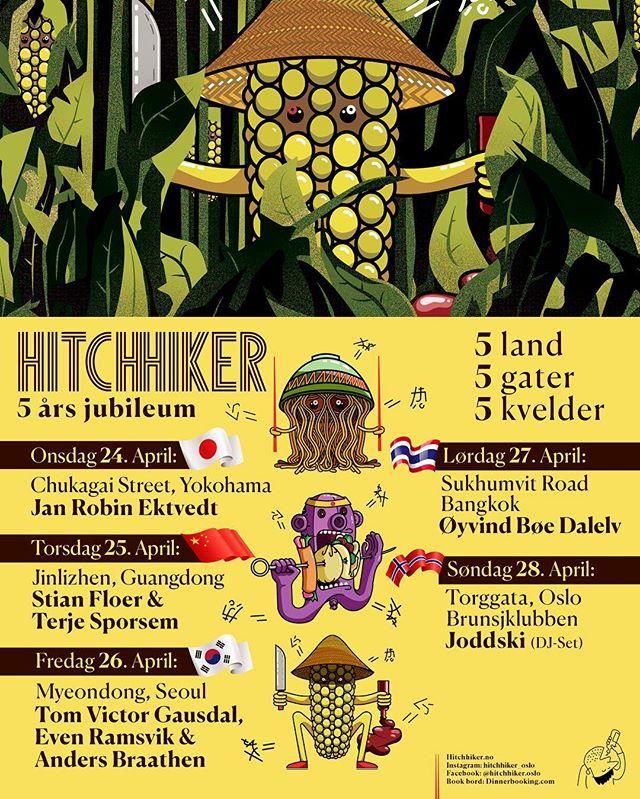 HITCHHIKER 5ÅR🎂 Fra 24-28. April feirer vi 5 års jubileum med en fem-dagers festival spekket med de beste kokkene, den beste maten og den beste stemninga💥💥💥 -Sjekk programmet og book via vår hjemmeside, link i bio🍕🍟🍔🌮 #hitchhiker_oslo #lavaoslo #streetfood #mathallen #femår #hitch5år 🎈🎈🎈