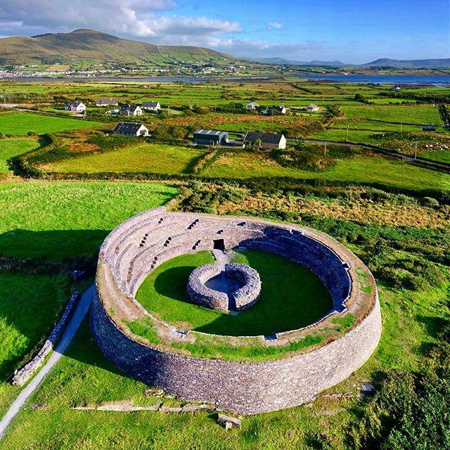 Cahergall Ring fort, Caherciveen, built in 7 century a.d. • • • • • • • • • • • • • • • • • • • #ireland_gram #irishpassion #inspireland_ #loveireland #dronephotography #potd #historic #landscape_lover #kerry #ringfort #filmphotography #dronesdaily #droneoftheday #droneofficial #dronestagram #djiinspire #filmmaking #travelholic #bucketlist #travelgram