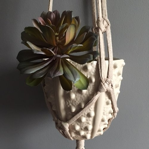 Recycled Yarn & Copper Trim Macramé Plant Hanger