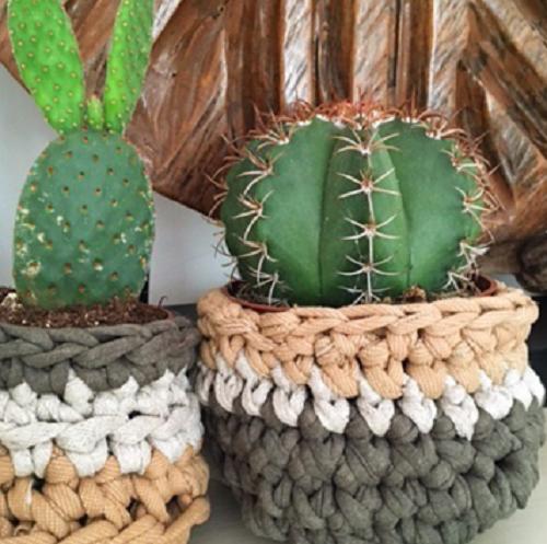 Recycled jersey crochet plant pots