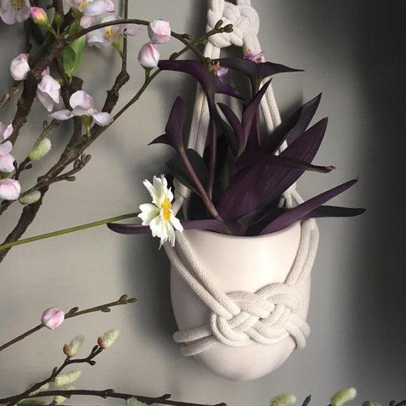 Macramé Detail Hanging Wall Vase