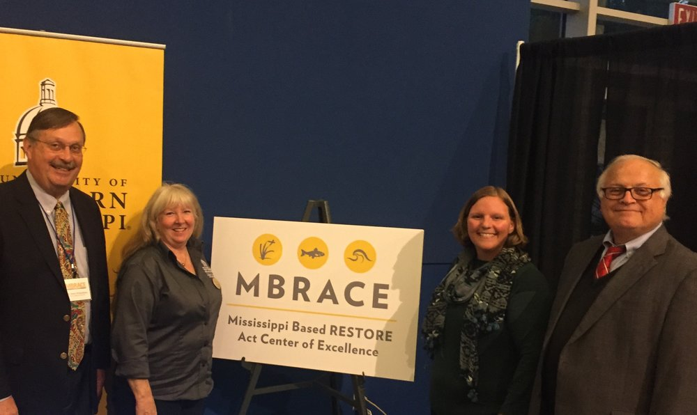 MBRACE personnel at the 2017 Mississippi Restoration Summit. From left to right: Denis Wiesenburg, Diana Lovejoy, Kelly Darnell, Landry Bernard