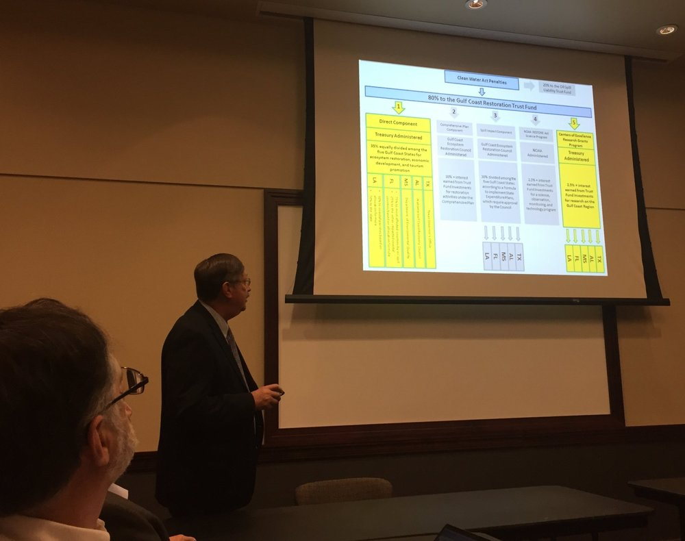 MBRACE Director, Denis Wiesenburg, provides background on the history of the Center of Excellence Research Grants Program (CERGP) to the ESC and EAG.