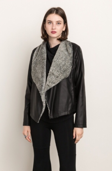 Fur Collar Vegan Leather Jacket