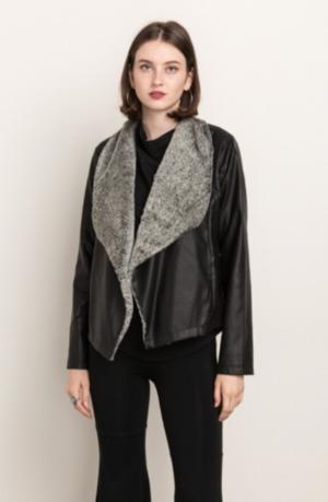 Fur Collar Vegan Leather Jacket