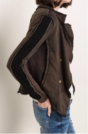 Flutter Collar Sweater Mix Terry Jacket