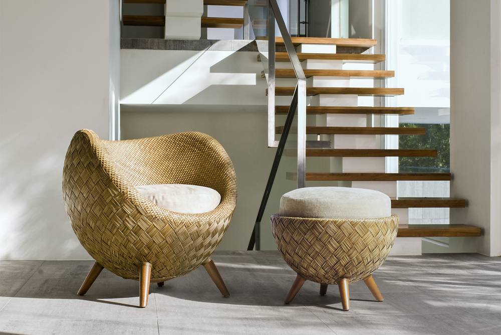 La Luna Easy Armchair and Ottoman by Kenneth Cobonpue  Photo Source: Kenneth Cobonpue