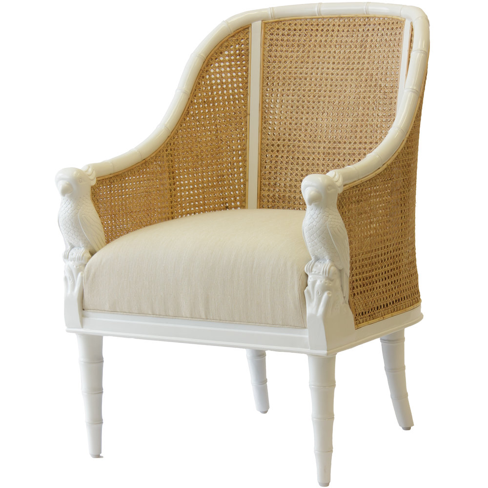 Florence Broadhurst's Cockatoo Chair in white with natural caning  Photo Source: Selamat Designs