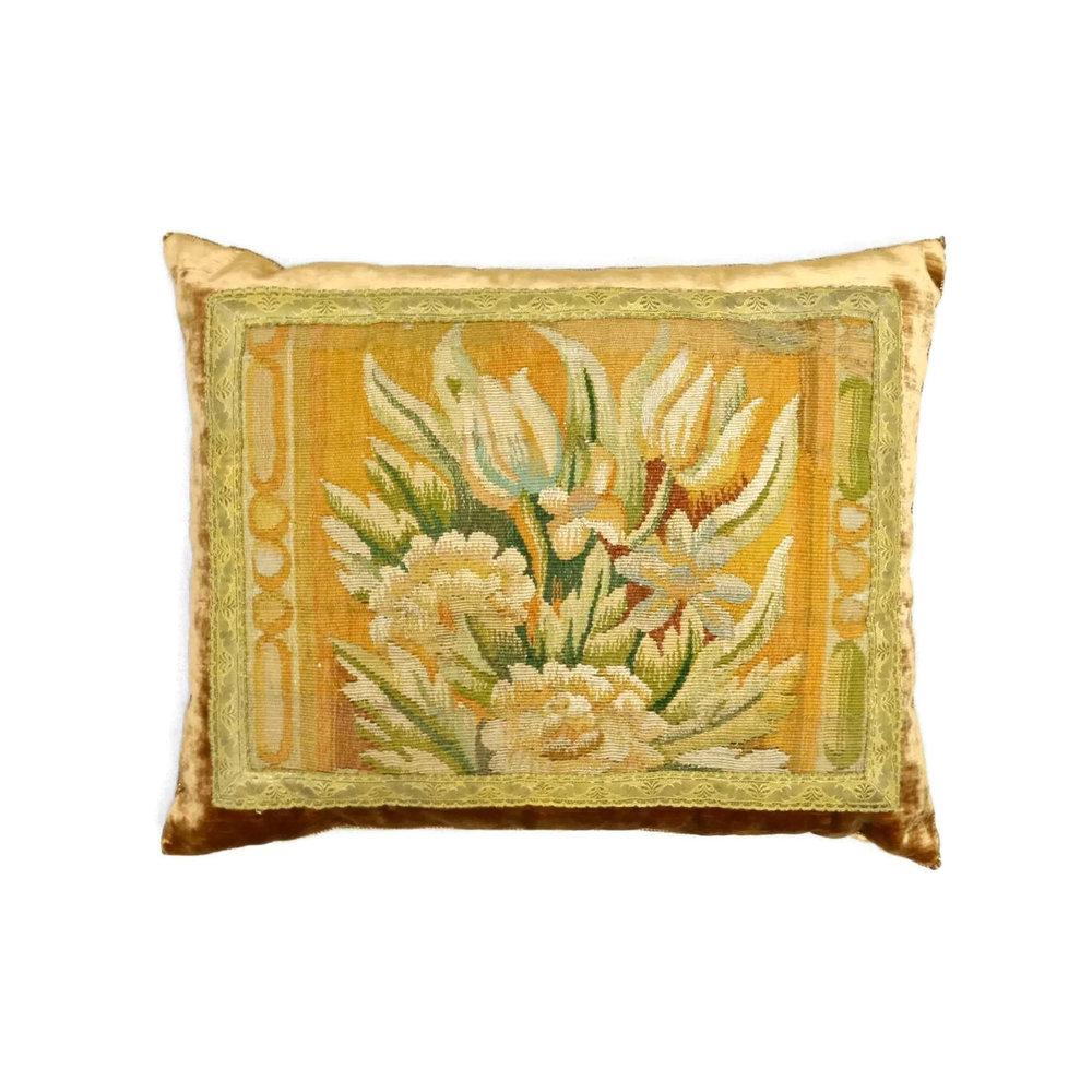 Rebecca Vizard's  Antique Tapestry Pillow  Photo Source: Rebecca Vizard