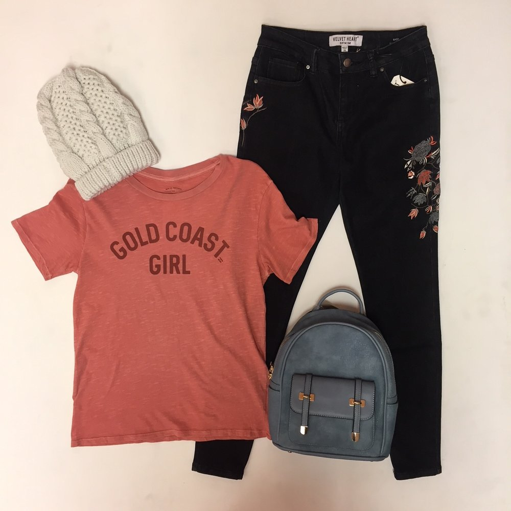 "Embroidered Jeans $79, ""Gold Coast Girl"" Tee $29.95, Backpack $49, Hat $16"
