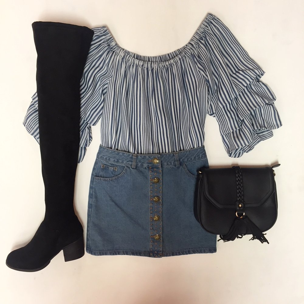 Off the shoulder ruffle top $82, Skirt $42, High Boots $58, Purse $34