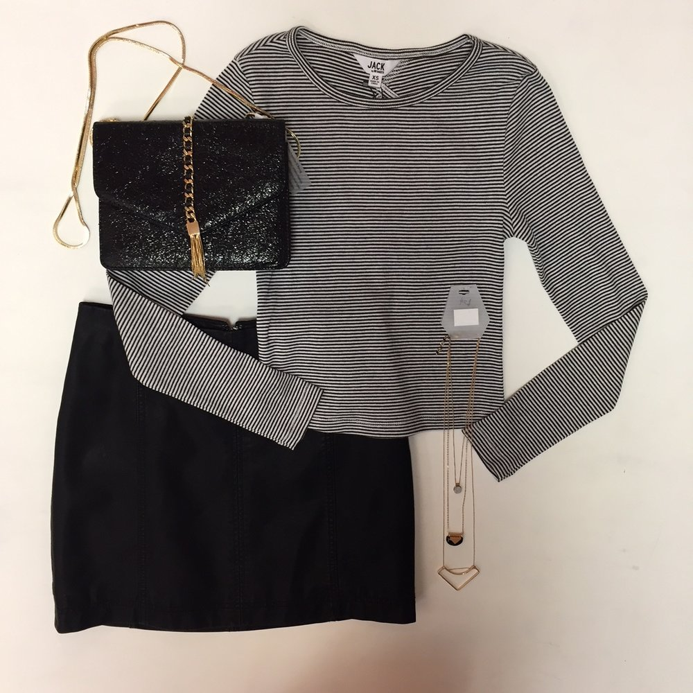 Free People Skirt $60, Jack Crop Top $48, Necklace Set $24, Purse $46