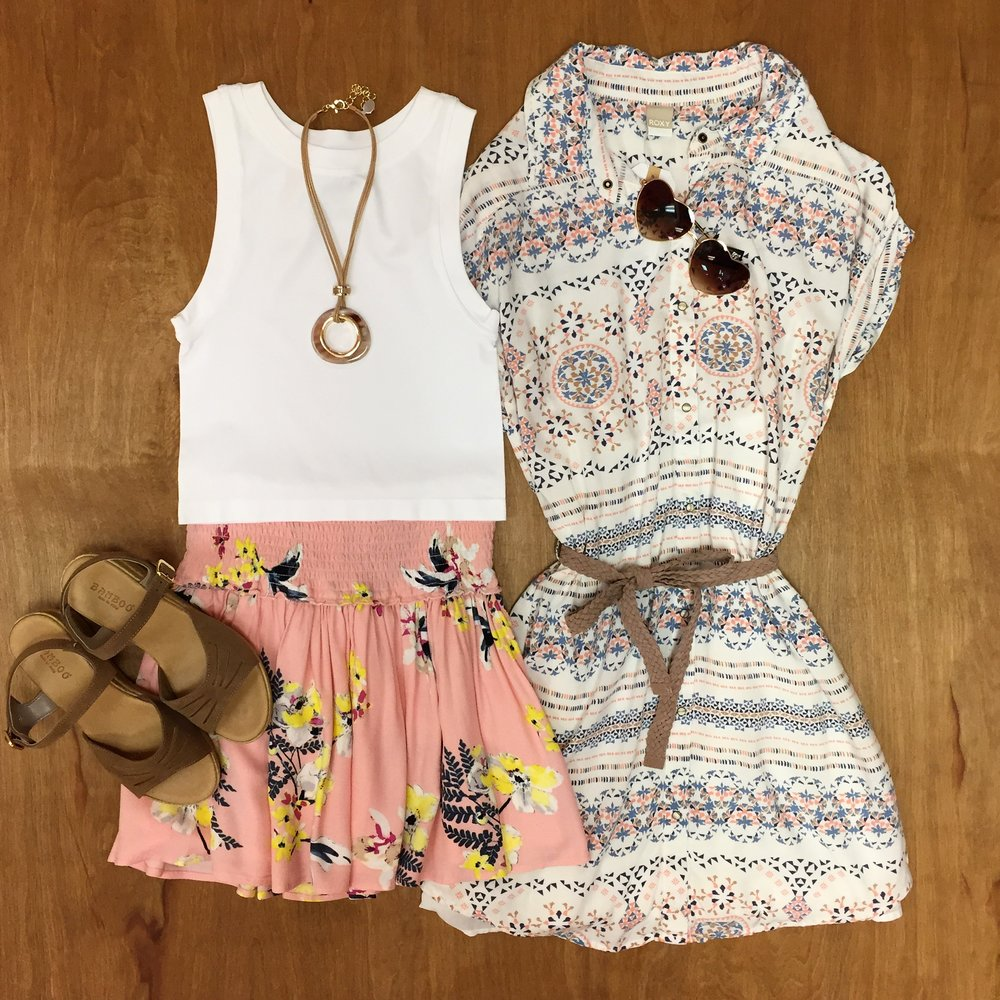 Free People Seamless Crop Top $20, Jack Printed Skirt $44, Roxy Dress $60, Necklace $18, Sandals $34, Sunglasses $15
