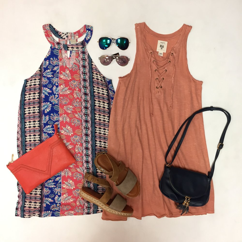High Neck Roxy Dress $40, Billabong Lace Up Dress $44.95, Sunglasses $14 each, Clutch $29, Crossbody $32, Sandals $54