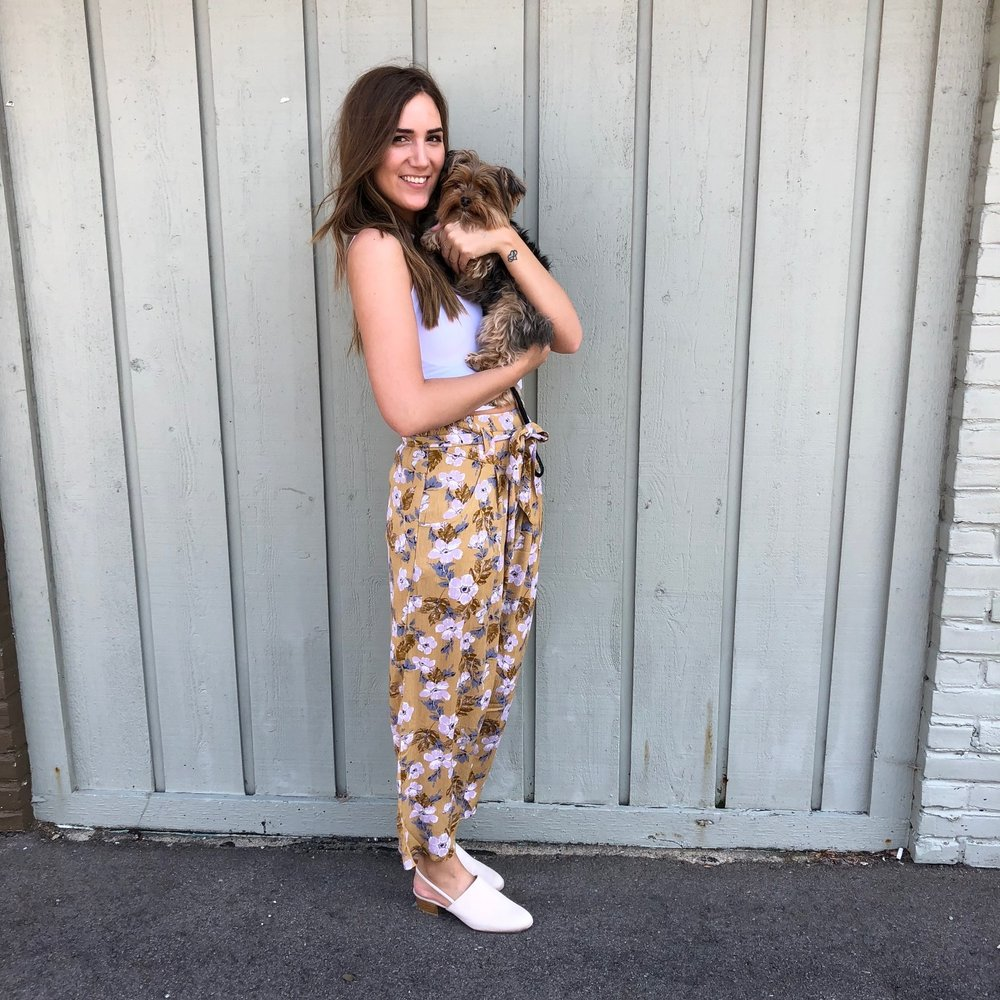 Anama Floral Pants $57, Free People Seamless Crop $20, Taupe Shoes $39, Tula the Yorkie $priceless