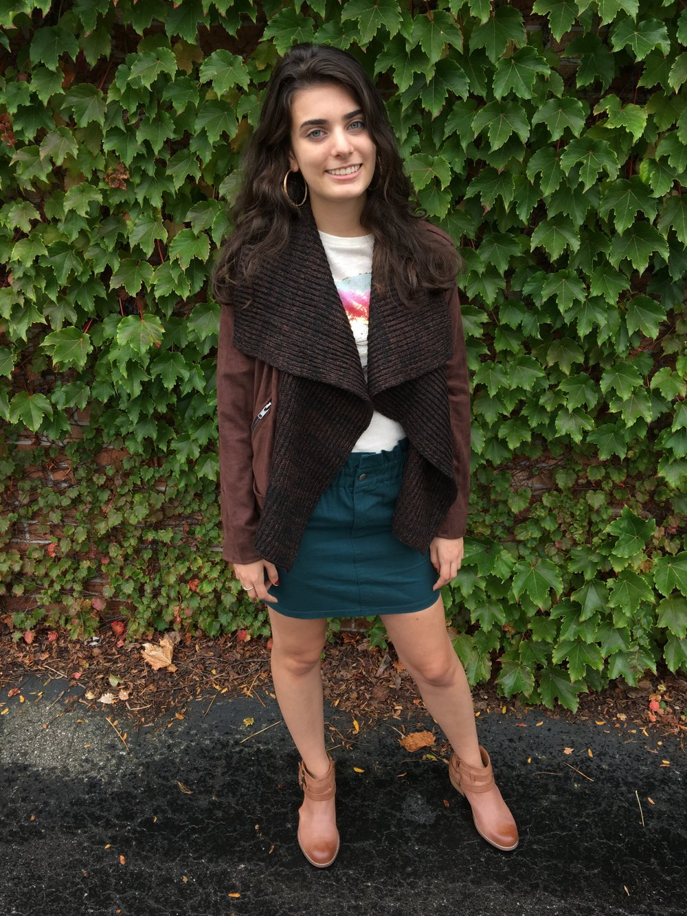 Layering a skirt - Fall into fall with this cute but casual brown suede jacket and teal skirt!