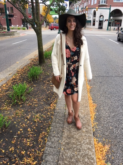 Layering a dress - Furry and floral.. this dynamic duo is ready for any fall day!