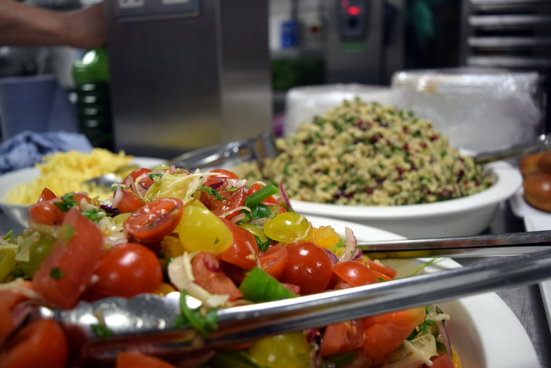tomato salad, and couscous with pomegranate and parsley