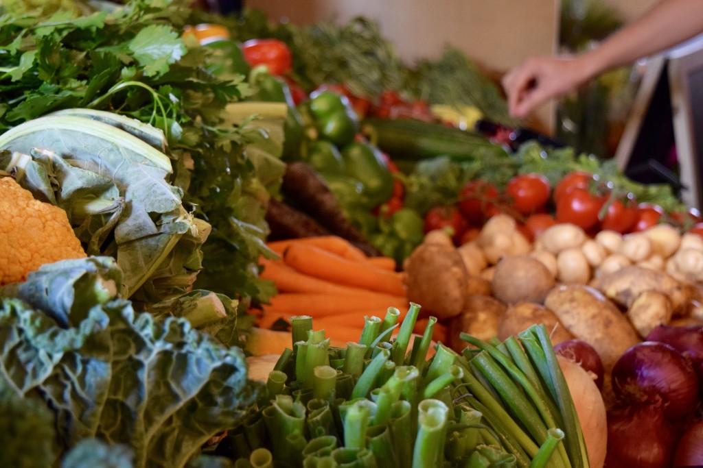 Produce on display at Just Hospitality's market day at Palantir UK