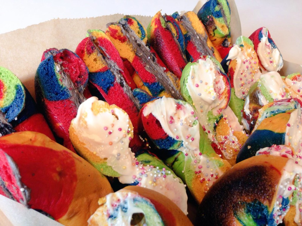 rainbow bagels for Pride 2016