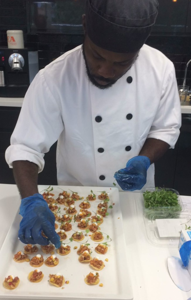 Dushaine preparing canapés at teads