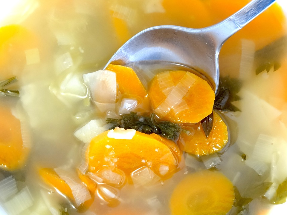 Spoon Vegetable Soup Soup Boiled Food Eat Cook