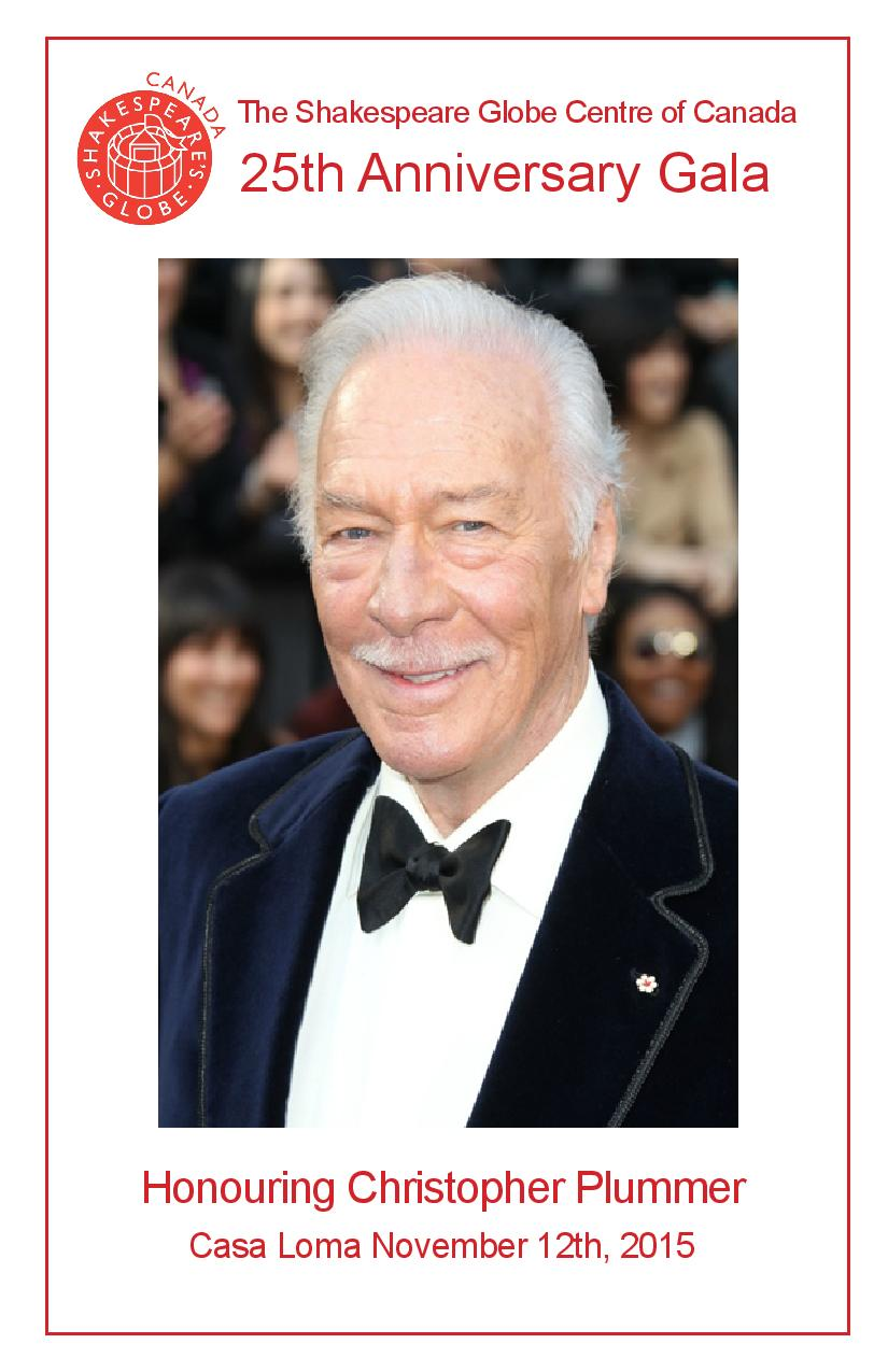 Shakespeare Globe Centre of Canada, 25th Anniversary Gala Honouring Christopher Plummer (10 pages)