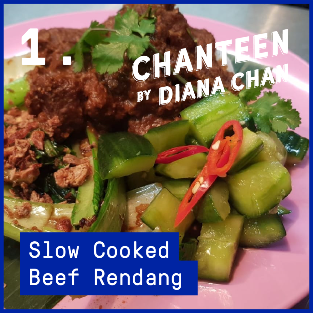 Market Plate - Slow Cooked Beef Rendang $13  Served with rice, asian greens with garlic & soy and pickled smashed cucumbers