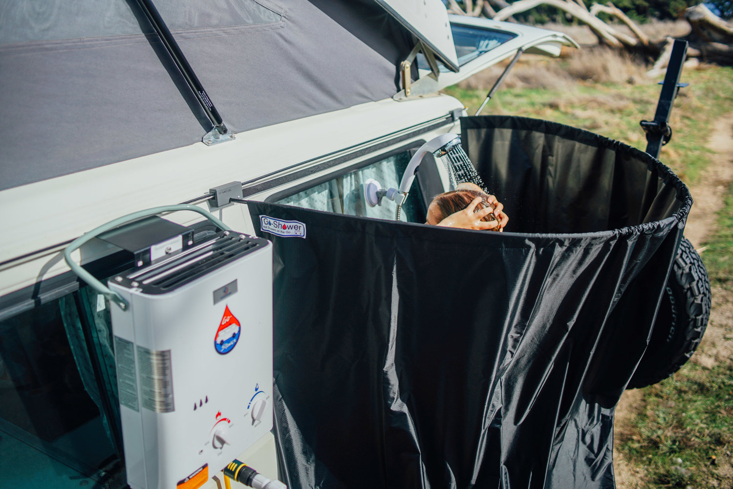 The First Ever Rain Gutter Mounted Shower Curtain For Your VW Westfalia Campervan
