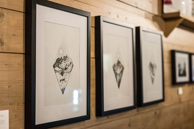 MORZINE MOUNTAINS ⛰ ・ This lovely photo by @sharpography was taken at our joint art exhibition in the winter, hosted by @satellitecoffeemorzine. It's of my Morzine mountain trio, featuring three of our beautiful peaks: Le Dents du Midi, Nyon and Roc d'Enfer. ・ The set will be for sale soon once my site revamp is complete, along with prints in various sizes. ・ Swipe to see them face on 🤳🏼 ・ ✦ ☾ ✦ ・ #sketchclub #sketchtime #illustrationdaily #illustrationdesign #drawingdaily #blackworkartists #mountainart #artdesires #inkdrawing #designart #drawinggirl #sketchlife #dotworkers #sketchday #snowboardlife #tattoodesing #mountainlovers #artistforhire #morzine #dentsdumidi #rocdenfer #hautesavoie #rhonealpes #mountainlife #geneve #lesgets