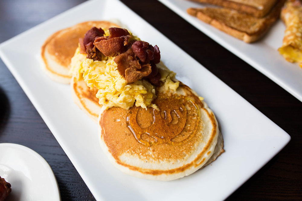 Pancakes with eggs and bacon