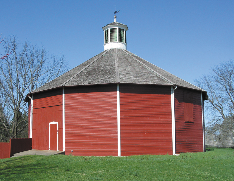 13-Sided Barn - Built in the 1830's is the oldest, documented, multisided barn in New York. The weight of the roof of this unusual structure rests solidly on its thirteen sides. The only interior framing, apart from the side walls, is a single center pole.