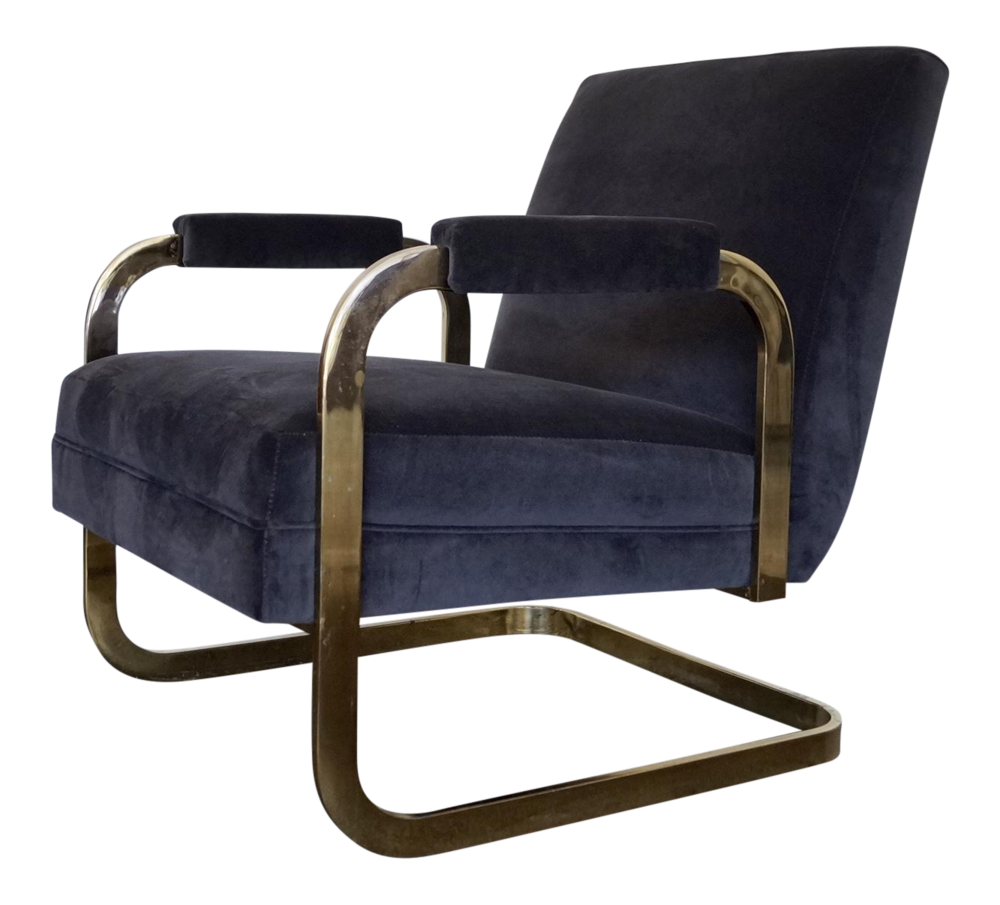 A pair of vintage Milo Baughman velvet and brass or velvet and chrome chairs.