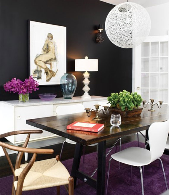 Black Accent Wall in the Dining Room - Image via Pinterest