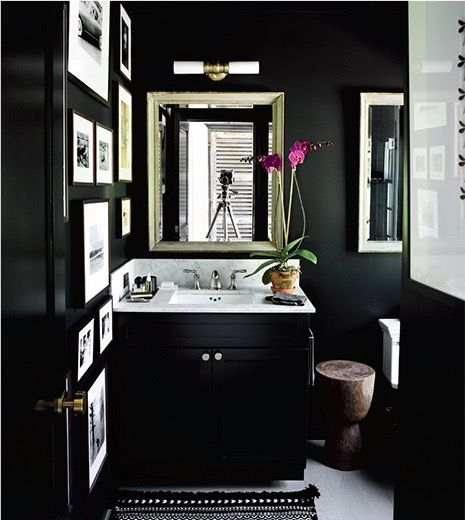 Black Powder Room - Image via Pinterest