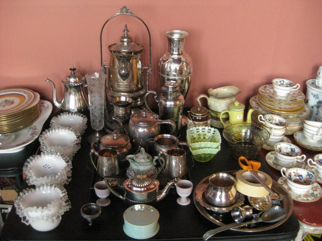 Typical Estate Sale Wares - Milk Glass, china, sterling silver, silver plate