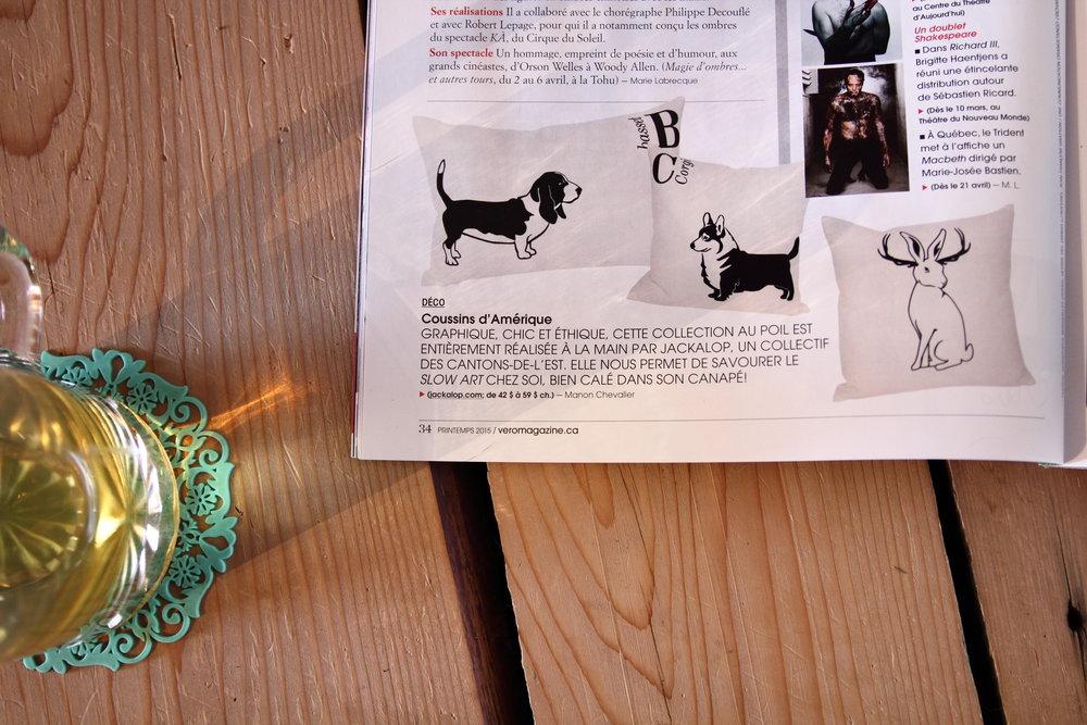 Coussins Jackalop Co., collectif formé avec Stanislas Metzger, parus dans le Magazine Véro.