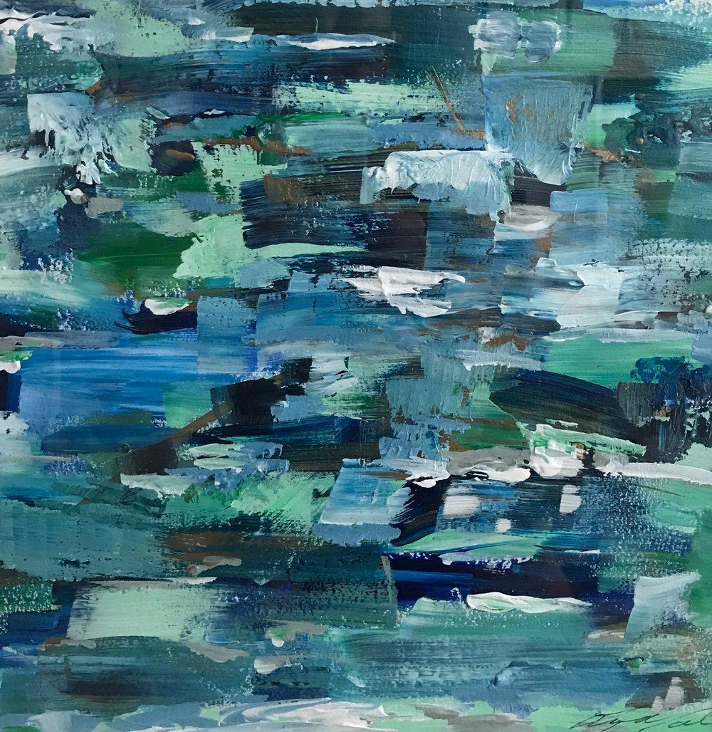 "Beach Glass III - 10 x 8"" - Framed acrylic on paper - $125"