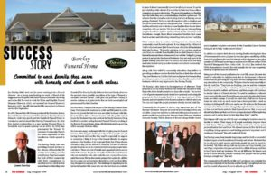 Barcay funeral home magazine spread