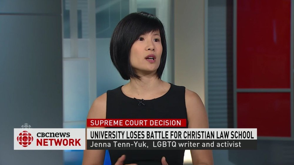 Jenna Tenn-Yuk joins Reshmi Nair to discuss the Supreme Court ruling on Trinity Western University, on CBC News Network. Click on the photo for the interview.