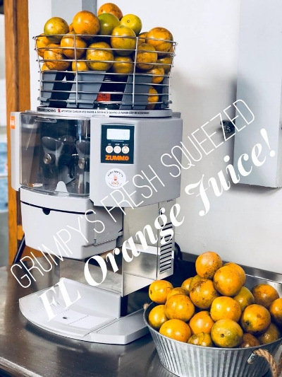 Grumpy's Fresh Squeezed Florida Orange Juice is now available. We are proud to introduce our brand new state of the art Auto Squeeze Machine! The best OJ in Jacksonville, come try it for yourself!  -Grumpy