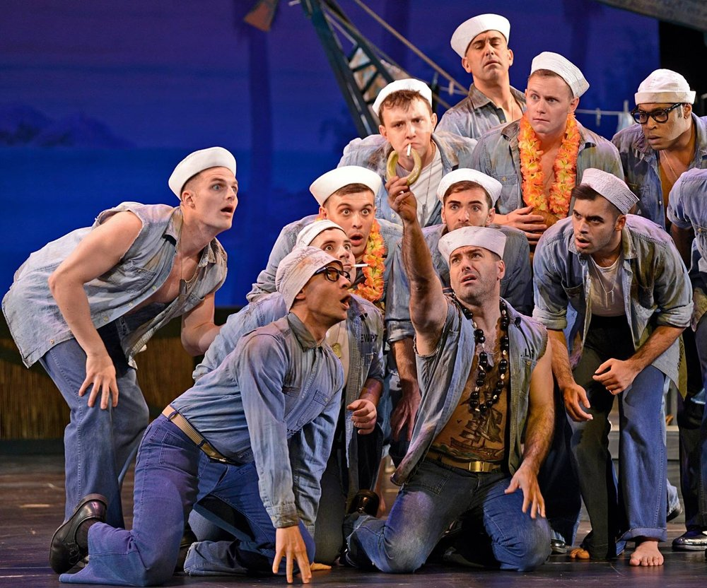 Peter (far left) in  South Pacific  at Musical Theatre West