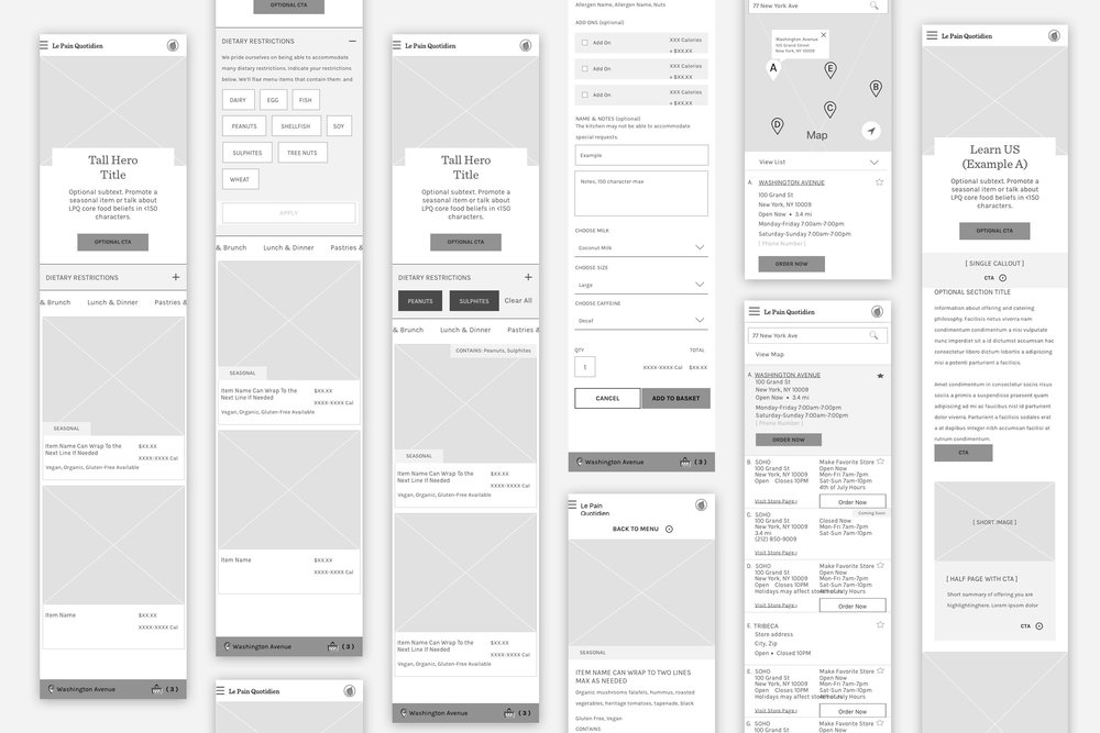 Various Mobile Wireframes