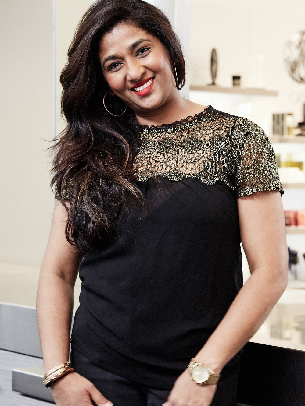 ANGIE   Angie has spent 15 years at Butterfly Studio and 22 years in the beauty industry. She is best known for textured cutting and styling techniques including relaxers and edgy, tailored styles. Her policy is to understand all hair types and cuts and to listen to her client's needs. Angie's tailored men's cutting style has garnered her much praise among Hollywood favorites Adam Ferrara and Mike Manning.   @anjiehookumchand_