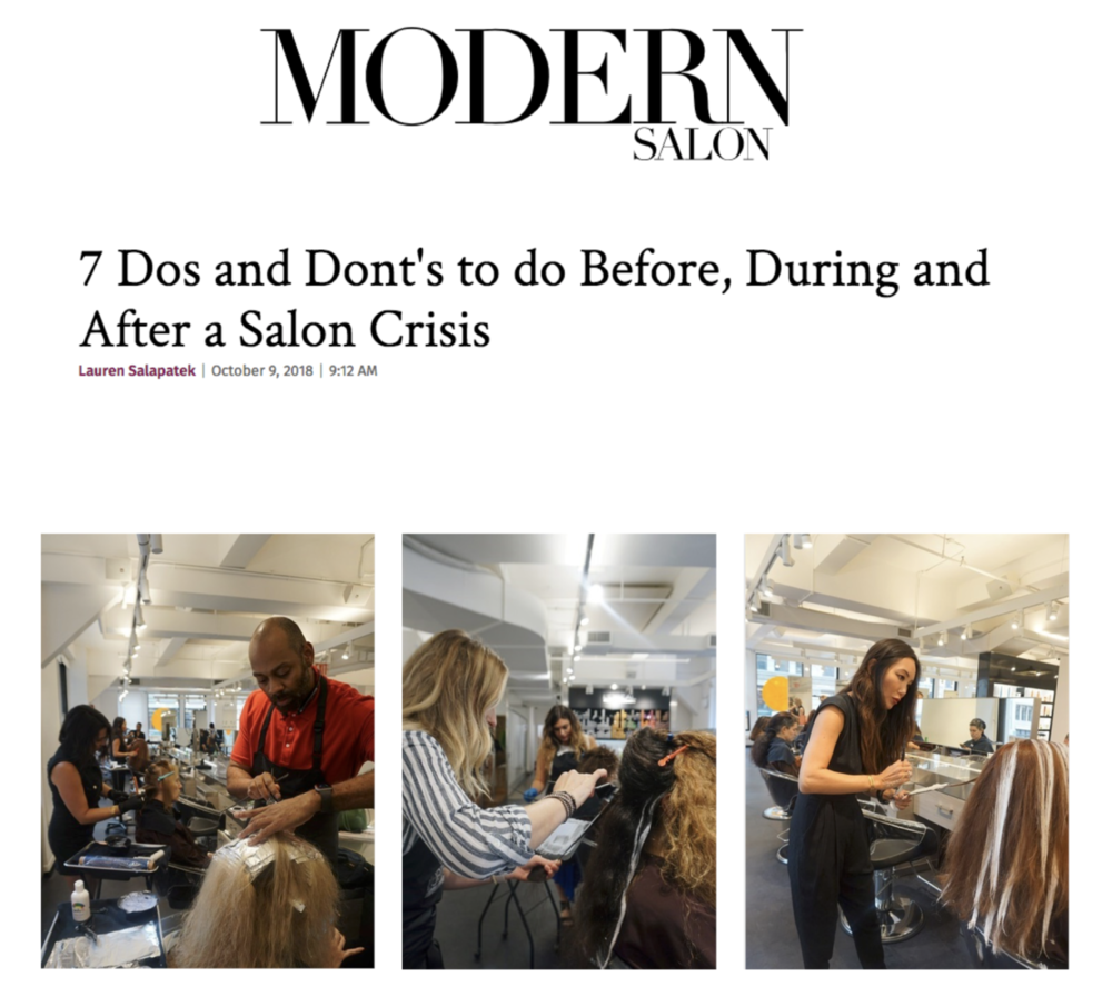 MODERN SALON   After Butterfly Studio's salon crisis in July 2018, the salon was able to manage. Modern Salon covers the Do's and Donts of damage control after a crisis.